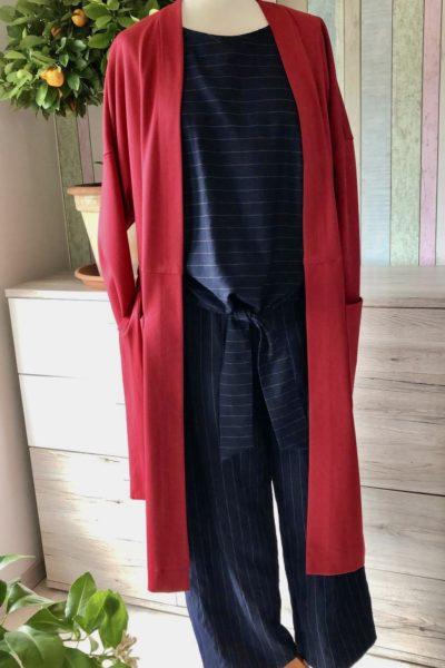 Mantel Milano-Jersey, Burda 6294 Hose und Top, Viskose-Streifen